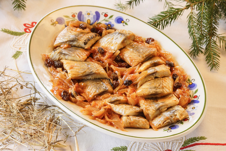 Kashubian herring with onions and raisins