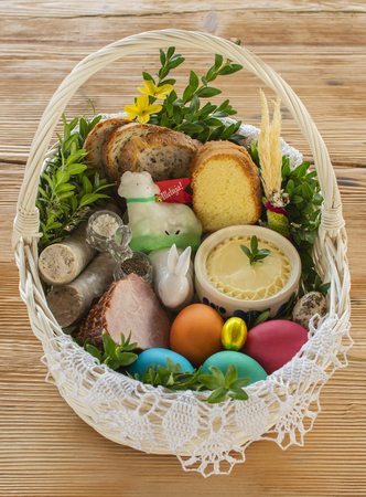 Traditional Easter basket with food 写真素材