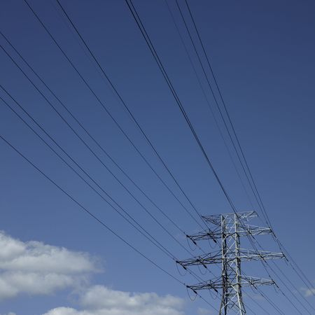 Electric wires in the sky Stock Photo