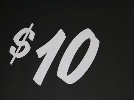 $ 10 sign