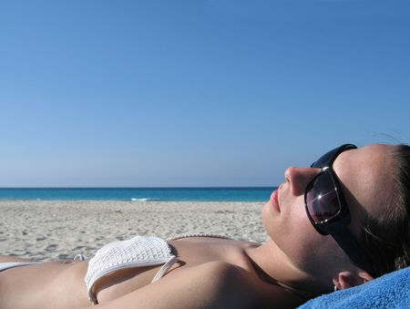 girl tanning photo