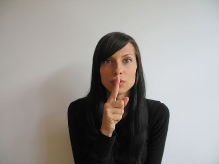 long nose: pretty girl asking for silence