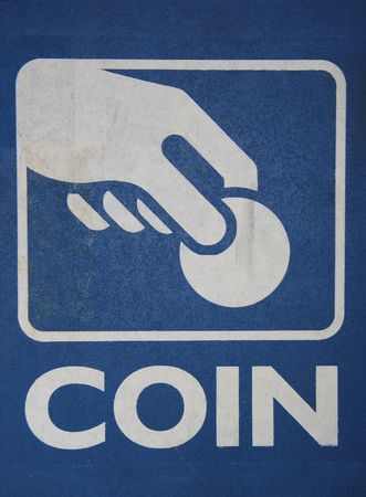 pay wall: blue coin sign Stock Photo