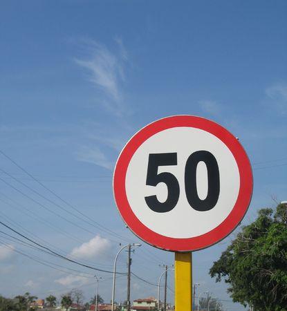 50 の速度制限標識 写真素材