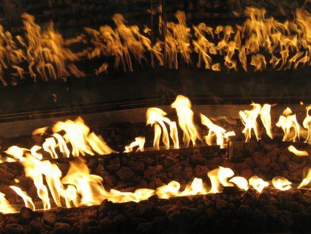 Indoor oranje brand vlammen Stockfoto