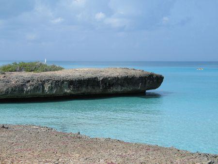 cliff over the caribbean ocean