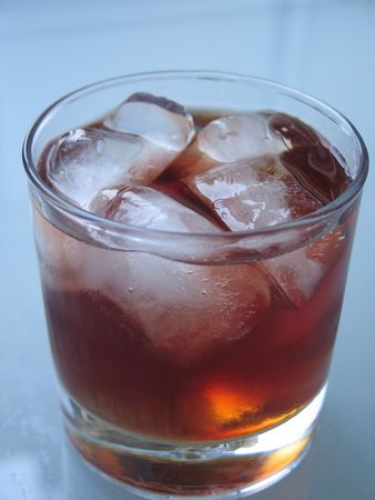 rhum: ice cubes in a close-up drink