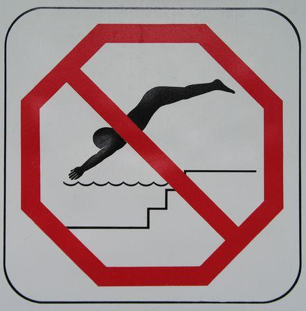 no diving sign Standard-Bild