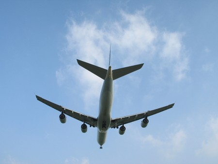 view of an airplane from under Stock Photo