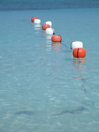 vertical divider: buoys on the ocean Stock Photo