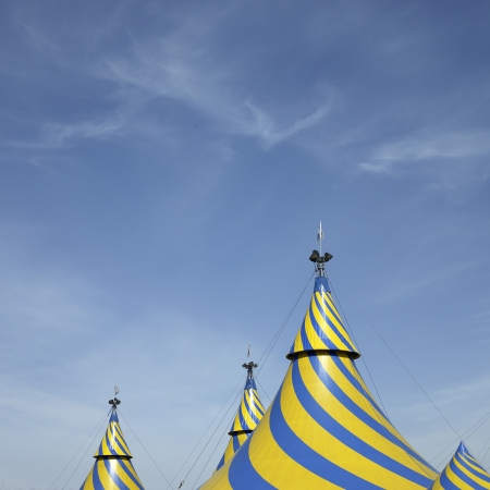 Blue and yellow tent