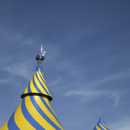 cirque du soleil: Blue and yellow tent