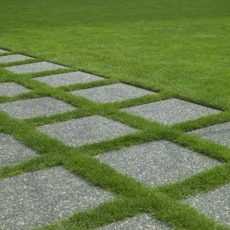 Grass and tiles path photo