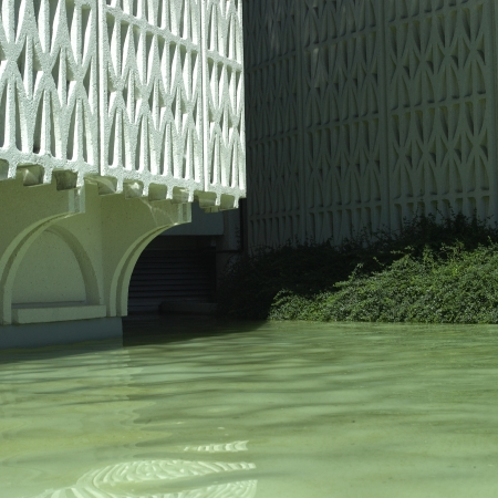 Textured building and water