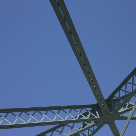 bridge construction: Bridge structure and blue sky