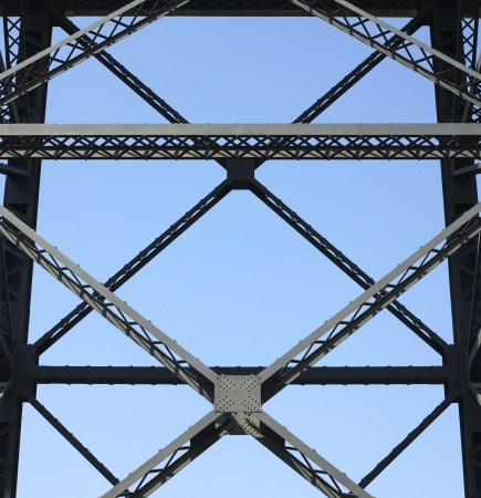 hardwearing: Heavy iron raillway bridge agains blue sky