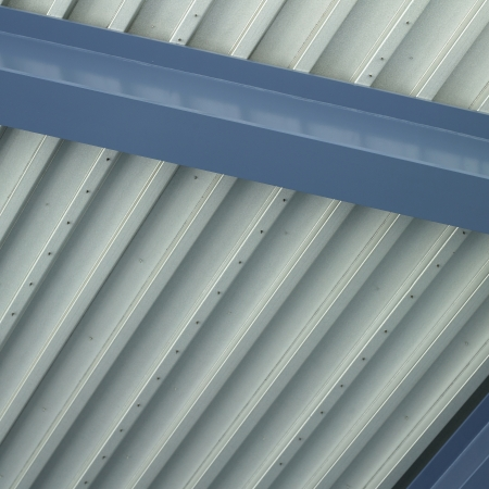 Blue and silver industrial ceiling
