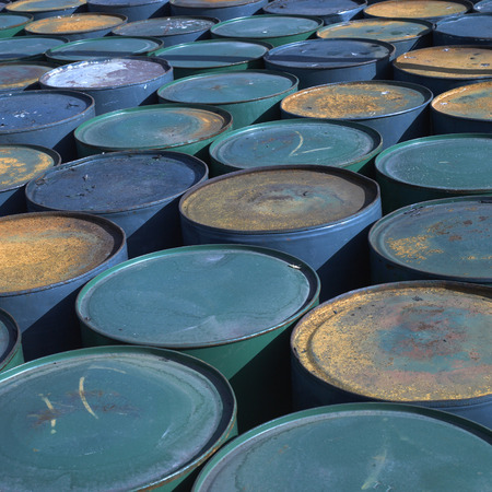robustness: Rows of colorful and rusty barrels