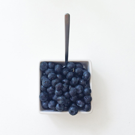 square: Blueberries in a square dish Stock Photo