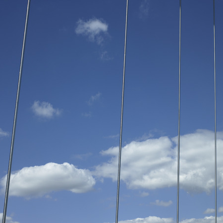 durable: Metal cables against the lue sky Stock Photo