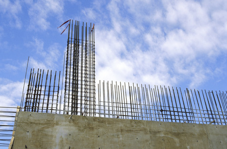 Rebar and concrete wall construction