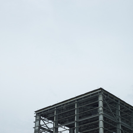 constructed: partially constructed large metal building Stock Photo