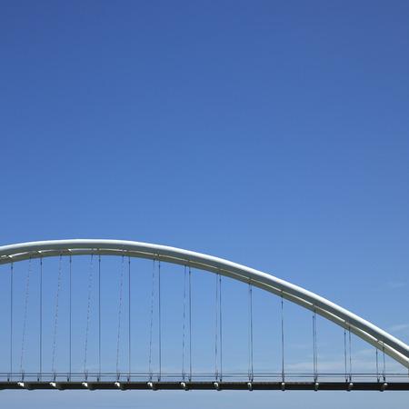 durable: White steel curved modern bridge