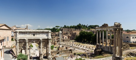 obelisc: Panoramic view of Forum Romanum, Rome, Italy Stock Photo