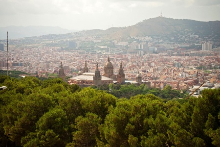 Panoramic view of National palace, Catalonia, Barcelona photo