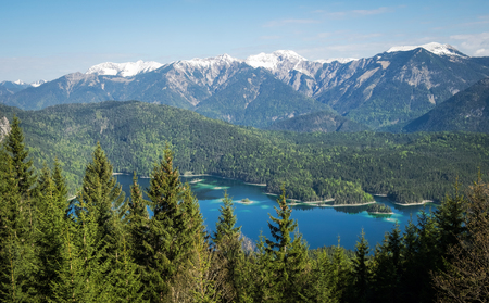 Panoramic view of Alps and Eibsee Lake, Bavaria, Germany Stock Photo