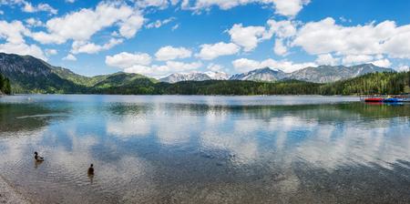 unrepeatable: Panoramic view of Eibsee Lake, Bavaria, Germany Stock Photo