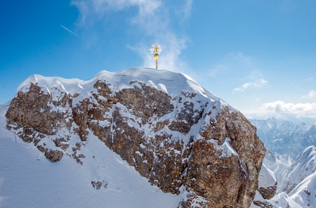 zugspitze mountain: Top of Germany, Panoramic view of Alps mountain range at Zugspitze Stock Photo