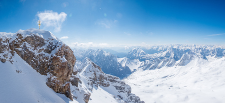 unrepeatable: Top of Germany, Panoramic view of Alps mountain range at Zugspitze Stock Photo