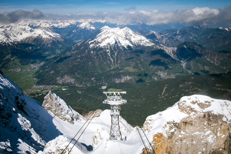 unrepeatable: Aerial lift and panoramic view of Alps, Top of Germany, Zugspitze Stock Photo