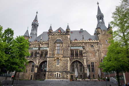 rathaus: Panorama of The Gothic Aachen Rathaus, Germany