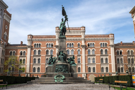thoroughfare: VIENNA, AUSTRIA - April 16, 2015: Deutschmeister (German champion) memorial in front of the Rossauer Kaserne (Rossau barracks). It now houses the Ministry of National Defence and Sport.