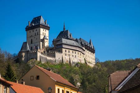 republik: The famous castle - Karlstein, view from town, Czech Republik
