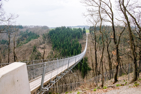 The Geierlay is a suspension bridge in the low mountain range of the Hunsrück in central Germany