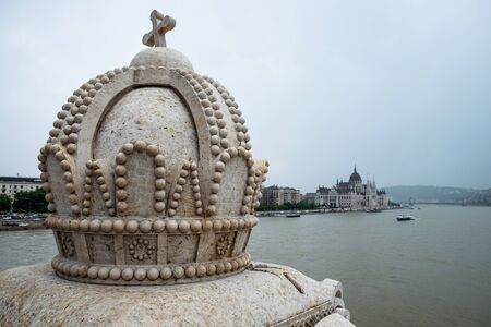 Holy Crown of Hungary (Crown of saint Stephen), decor element of Margaret Bridge, Budapest, Hungary Stock Photo