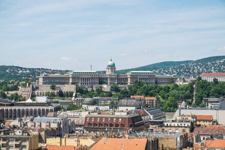 Panorama of Budapest and Castle Royal Palace from top of the St. Stephen's Basilica, Budapest, Hungary 版權商用圖片
