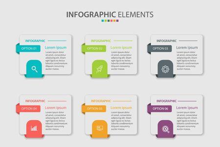 Élément infographique d'entreprise avec 6 options, étapes, conception de modèle de vecteur de nombre