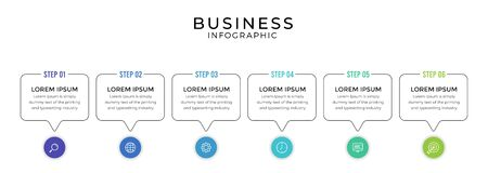 Business infographic element with 6 options, steps, number vector template design