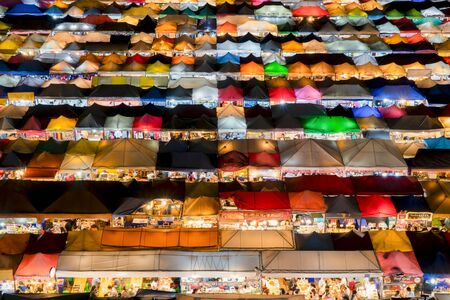 BANGKOK THAILAND. September 11,2018; The beautiful top view of night market with colorful tents, Ratchada Night Market, Bangkok. Thailand