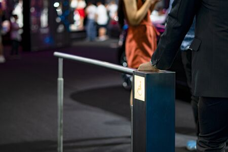 Handrails for disabled people in the event area.