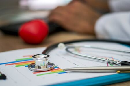 Stethoscope placed on financial charts. Stethoscope and medical check-up report for healthcare concept. Business Concept.
