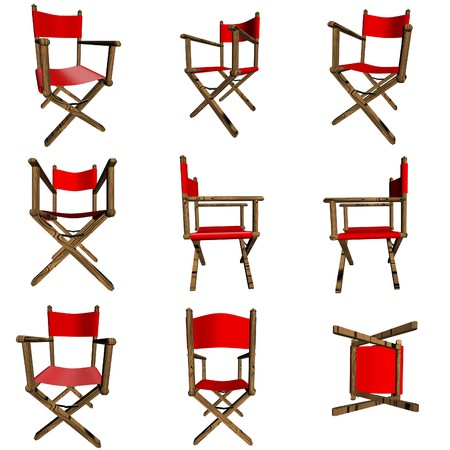 woody: 3D Red Director Chair in various positions Stock Photo