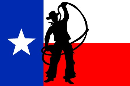 Silhouette of Coyboy on Texas Flag photo
