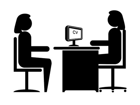 interviewer: Female to Female Job Interview in Silhouette