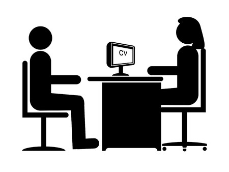 questioning: Silhouette Job Interview (Female Boss & Male Candidate)
