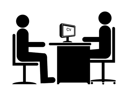 job interview: Silhouette Job Interview (Male Boss & Male Candidate)